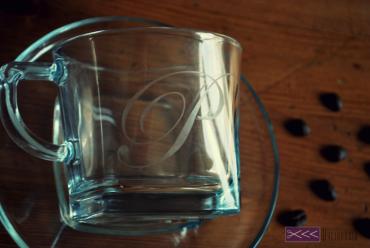 ręcznie robiona filiżanka, matowienie szkła