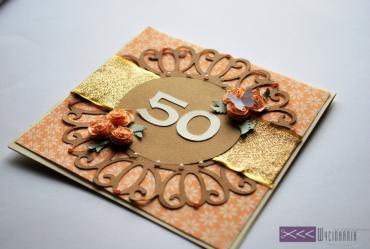 ręcznie robiona kartka na 50 tkę