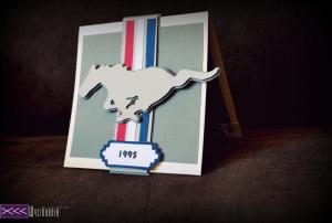 kartka dla fanóa samochodów - ford mustang handmade card
