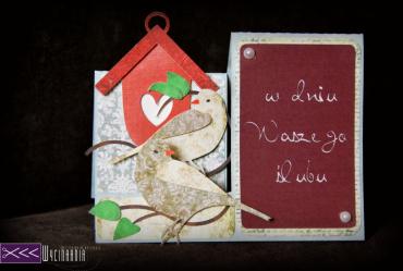 Gołabki kartka na ślub ręcznie robiona 3d