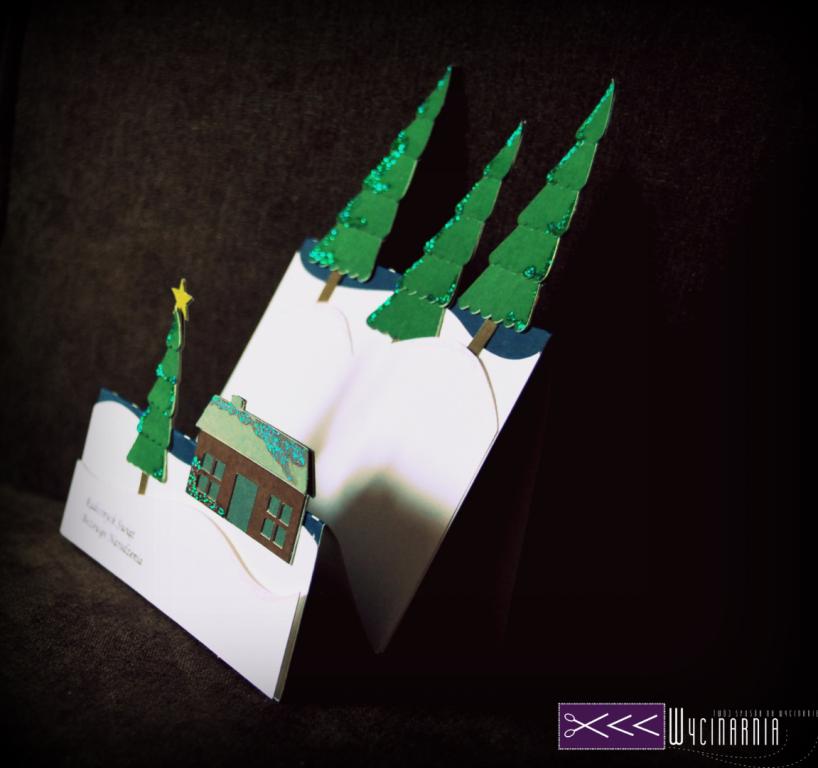 ręcznie robiona kartka świąteczna na ploterze cameo 2