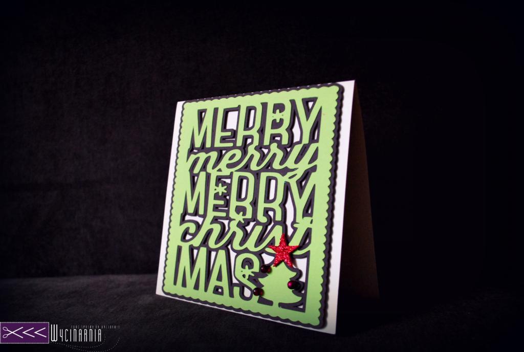 recznie robiona kartka świąteczna na ploterze silhouette