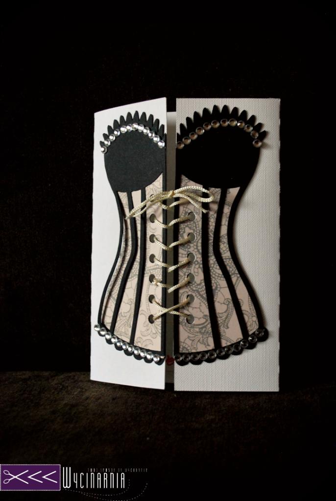 ręcznie robiona kartka walentynkowa gorset
