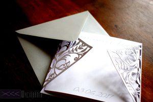 Zaproszenie ręcznie robione silhouette