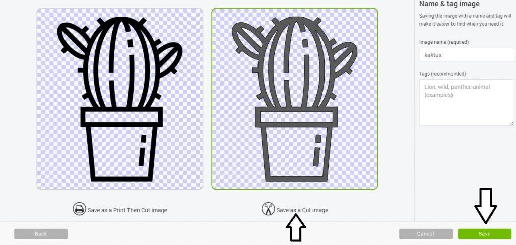 Import plików do Cricut Design Space - save as a cut image